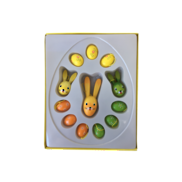 ORANGE, GREEN, YELLOW WOOD EGGS & RABBITS BOXED SET (6)