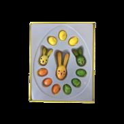 ORANGE, GREEN, YELLOW WOOD EGGS & RABBITS BOXED SET (6)