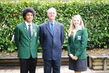 Jonathan Feki andMaddie Hughes with Mr Bovaird