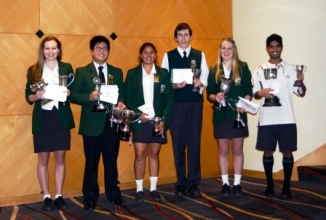Scholarship winners Samantha Holland, Johnson Zuang, Khusboo Patel, Andrew Coffin, Rebecca Smith, Akshay Chauhan
