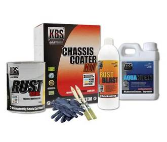 57001 KBS CHASSIS COATER KIT FOR FULL SIZE CAR OR UTE GLOSS BLACK
