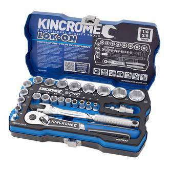 KK27030 Kincrome Socket Set Lok On 26 Piece 1/4 & 3/8 Drive Metric
