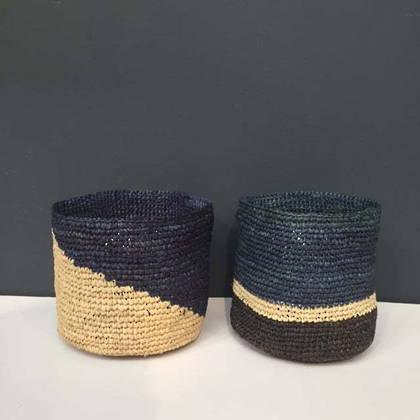 Medium Raffia baskets from Madagascar - set of 2 Blue (sold out)