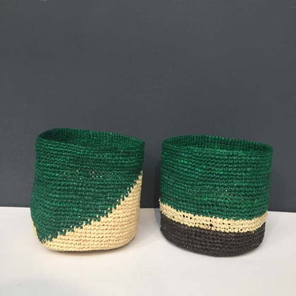 Medium Raffia baskets from Madagascar - set of 2 Green (sold out)