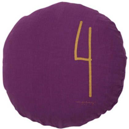 Bed & Philosophy pure linen Round 'Number' cushion in Purple (available to order)