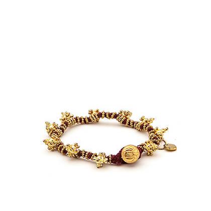 Bracelet Shakti - gold maroon