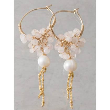 Earrings Gipsy rose quartz & pearl - n° 328