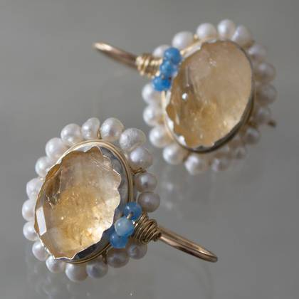 Earrings Oval Mandala citrine & pearls - n° 306