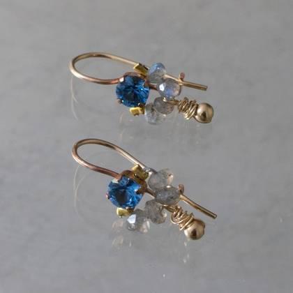 Earrings Dancer blue crystal & larbradorite - n° 365