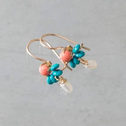 Earrings Dancer coral, turquoise, pearl - n° 339 (sold)