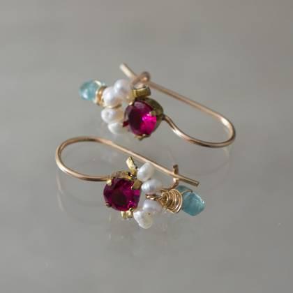 Earrings Dancer fuchsia crystal & pearls - n° 316 (sold )