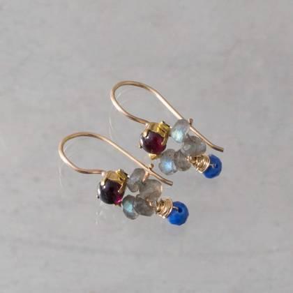 Earrings Dancer labradorite, brown crystal - n° 334 (sold)
