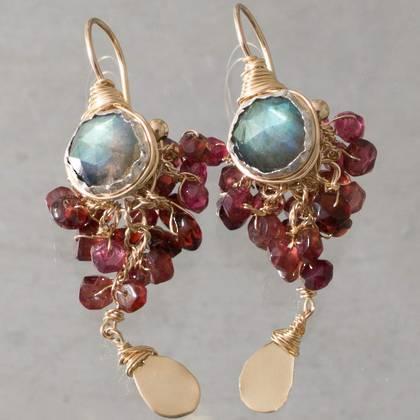Earrings Godess larbradorite & garnet - n° 332