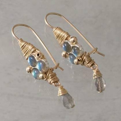 Earrings wire wrapped labradorite - n° 341
