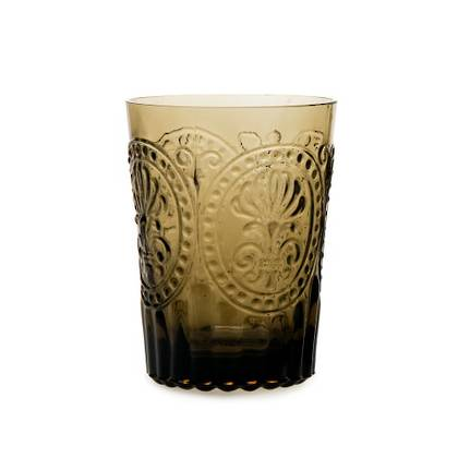 Fleur de Lys Brown Glass tumbler - set of 4 (available to order)