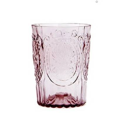 Fleur de Lys Pale Pink Glass tumbler - set of 4 (available to order)