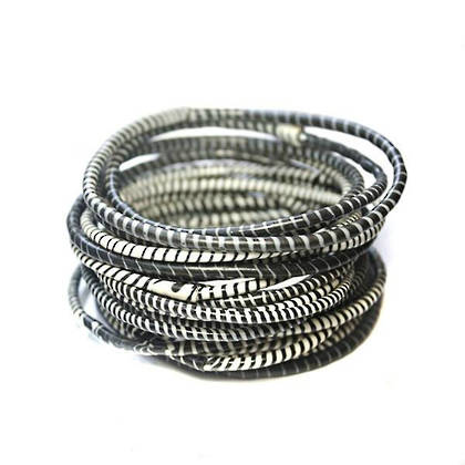 Jokko Bracelets from Mali Africa - set of 6 Black