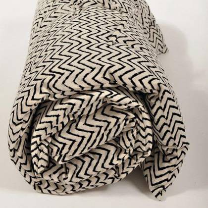 French cotton tufted mattress - Block Print Zigzag (sold out)