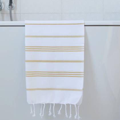 Turkish Cotton Large Hand Towel - White / Ochre