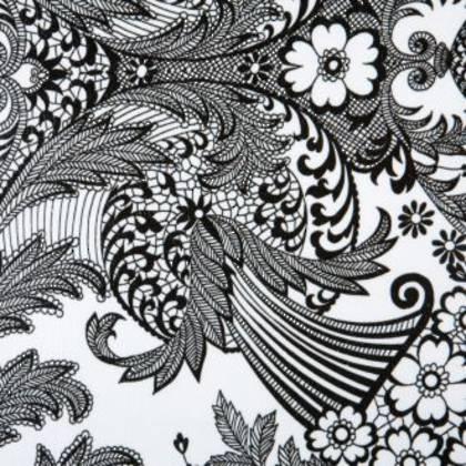 Kitsch Kitchen Oilcloth - Paraiso Black on White (out of stock)