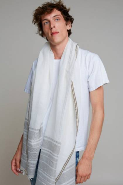 Moismont Scarf - design n°411 Khadi Cotton - Khaki