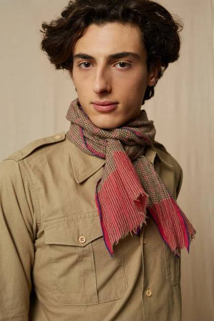 Moismont Scarf - design n° 464 - Tobacco & Pink (sold out)