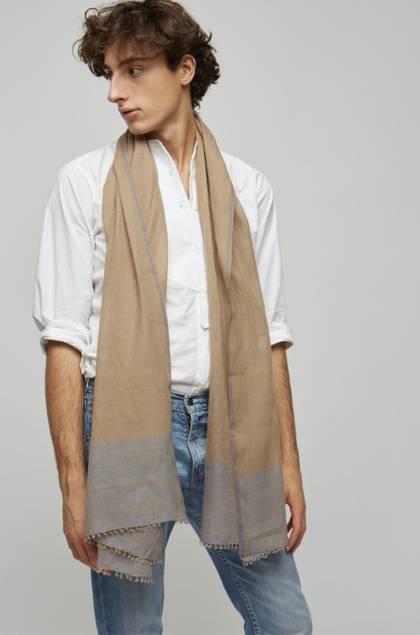 Moismont Scarf - design n°494 Khadi Cotton - Tobacco