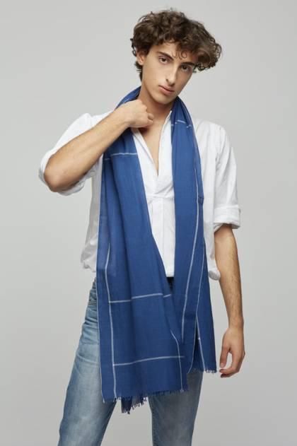 Moismont Scarf - design n°495 Khadi Cotton - Ink Blue