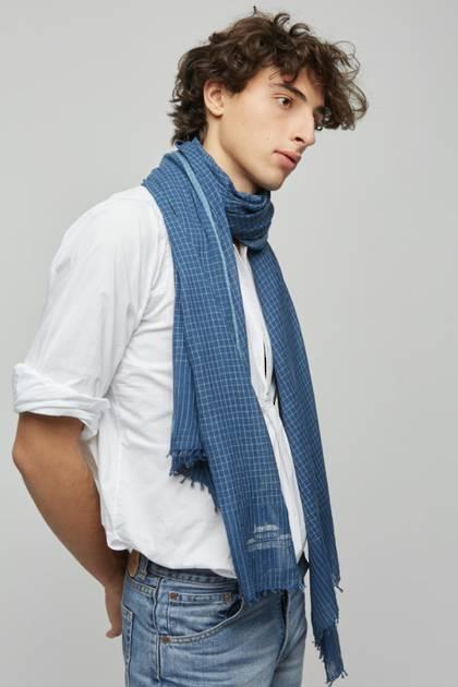 Moismont Scarf - design n°497 Khadi Cotton - Blue