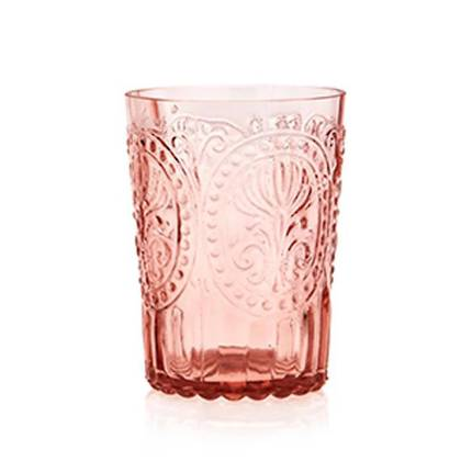 Fleur de Lys Pink Glass tumbler - set of 4