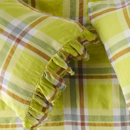 Citron Ruffle standard Pillowcase - set of 2