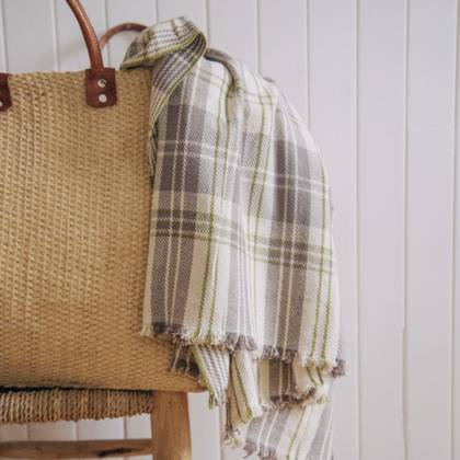 French Summer Cotton Throw - design n°11 Natural
