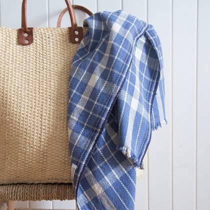French Summer Cotton Throw - design n°8 Blue