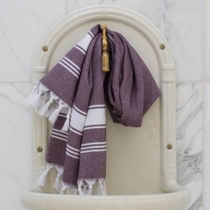 Turkish Honeycomb Cotton Large Hand Towel - Aubergine / white