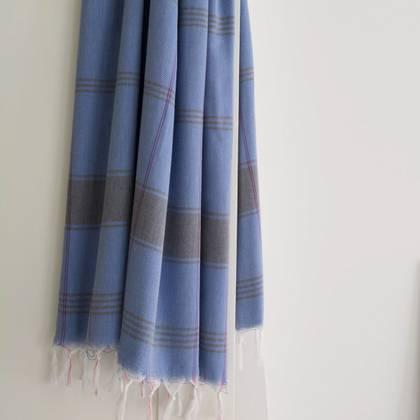 Turkish Organic Cotton Towel - Greek Blue
