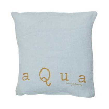 Bed & Philosophy pure linen Molly Cushion in Aqua (available to order)