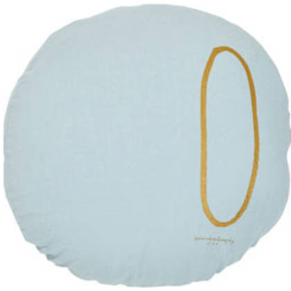 Bed & Philosophy pure linen Round 'Number' cushion in Aqua (available to order)