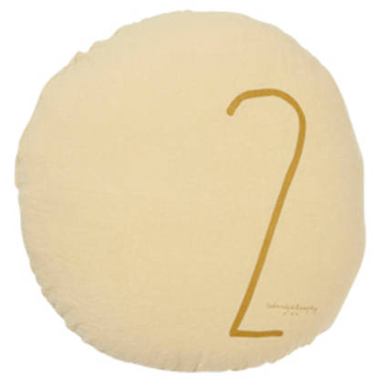 Bed & Philosophy pure linen Round 'Number' cushion in Popcorn (available to order)