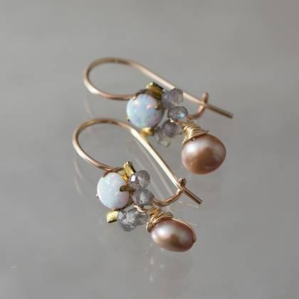 Earrings Dancer opal, labradorite, pearl - n° 293 (sold)