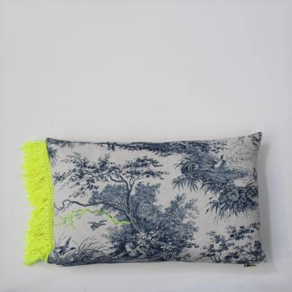 Livette Toile de Jouy Fluro Fringe 30x50cm Cushion (sold out)