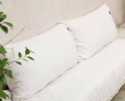 Large Pure linen Lovers cushion in White 55 x 110cm