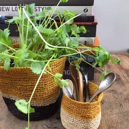 Medium Raffia baskets from Madagascar - set of 2 Yellow