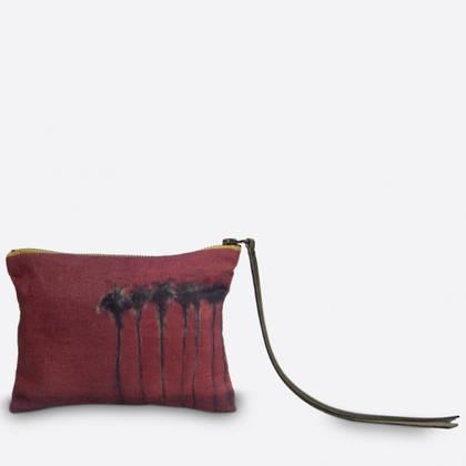 Maison Levy Linen Zip Purse - Palmiers Noir (sold out)
