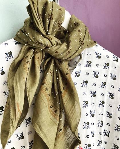 Moismont Scarf - design n°  520 Cotton - khaki