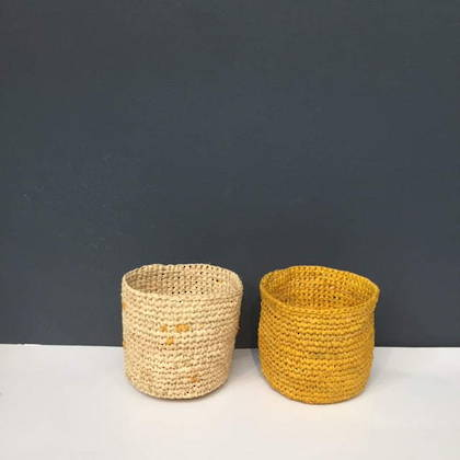 Small Raffia baskets from Madagascar - set of 2 Yellow