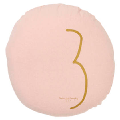 Bed & Philosophy pure linen Round 'Number' cushion in Blush (available to order)