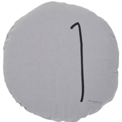 Bed & Philosophy pure linen Round 'Number' cushion in Orage Grey (available to order)