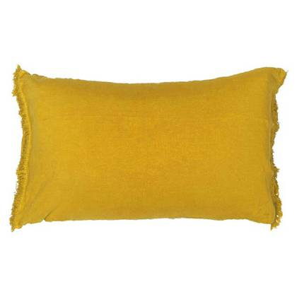 Bed & Philosophy pure linen Fringe Pillowcase - Std Size in Curry