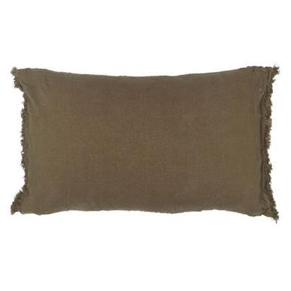 Bed & Philosophy pure linen Fringe Pillowcase - Std Size in Kaki