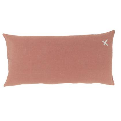Large Pure linen Lovers cushion in Rosebud 55 x 110cm